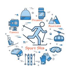 blue sport skis concept vector image