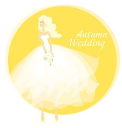 Bride wedding dress concept fall yellow vector