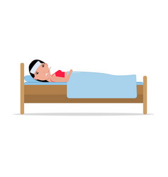 cartoon ill sick woman lying bed with flu vector image vector image