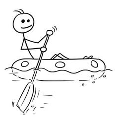 cartoon stick man sailing a rubber boat vector image