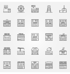 City buildings icon set vector image vector image
