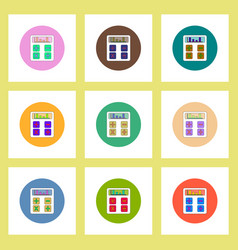 Flat icons set of calculator concept on colorful vector