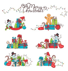 Hand-drawn Christmas design elements vector image
