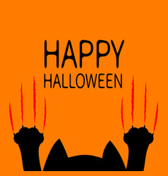 Happy halloween card black cat paw print head vector