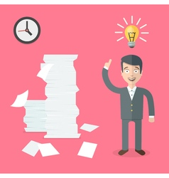 Happy office worker has a good idea how to do a vector image vector image