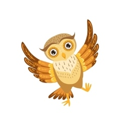 Happy owl cute cartoon character emoji with forest vector