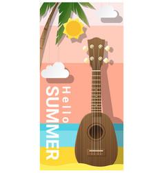 hello summer background with ukulele vector image vector image