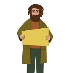Homeless man with cardboard vector