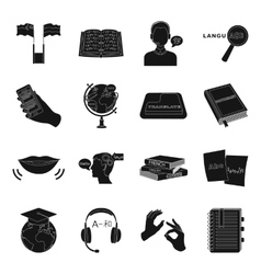 Interpreter and translator set icons in black vector