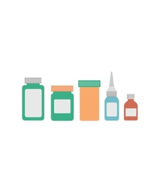 medicine bottles on white background vector image vector image