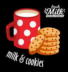 Milk and cookies icon chocolate cookies vector