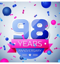 Ninety eight years anniversary celebration on grey vector