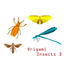 Origami paper insects vector