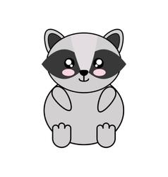 raccoon kawaii cute animal icon vector image
