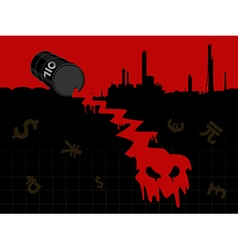Red crude oil price fall down vector