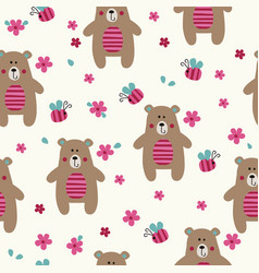 Seamless pattern with cute bears vector