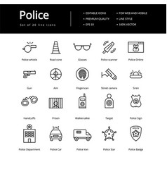 Simple set of line police icons vector