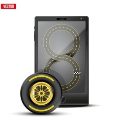 Smartphone with racing wheel and track on the vector image vector image