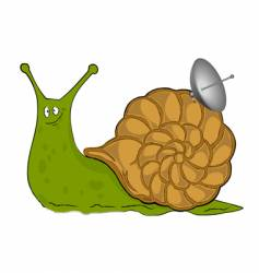 snail with satellite plate vector image vector image