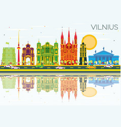 Vilnius skyline with color buildings blue sky and vector