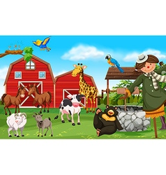 Wild animals and farm animals in farmyard vector image