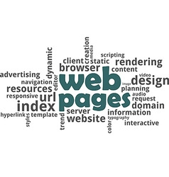 word cloud web pages vector image vector image