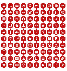 100 help icons hexagon red vector