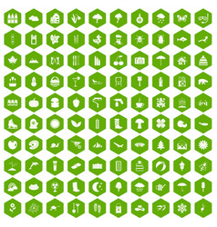 100 landscape icons hexagon green vector
