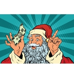 Santa claus with money new year and christmas vector