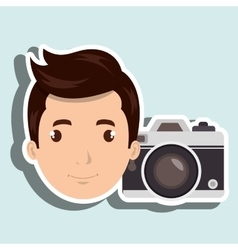 Man camera tickets travel vector