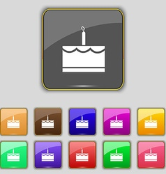 Birthday cake icon sign set with eleven colored vector