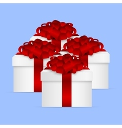 Gift Collection in a box with red bow vector image