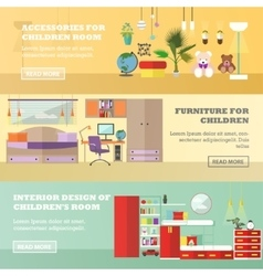 Kids bedroom interior banners in flat style vector image