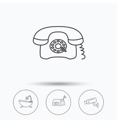 Phone video camera and mailbox icons vector