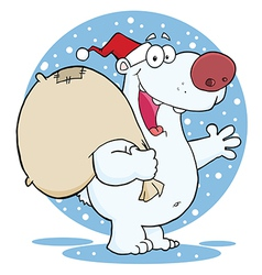 Santa polar bear waving a greeting in the snow vector