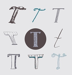 Original letters t set isolated on light gray vector