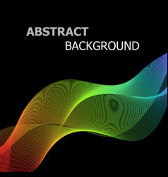 Abstract colorful lines wave on black background vector