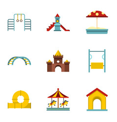 Kids playground icons set flat style vector