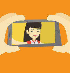 young woman making selfie vector image