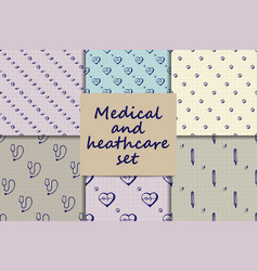 Doodle seamless paterns medicine icons set vector