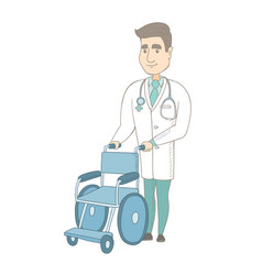 Young caucasian doctor pushing wheelchair vector