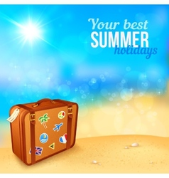 Luggage with traveling stickers at sunny beach vector