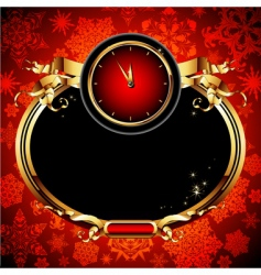 clocks with Christmas background vector image