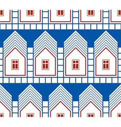 Abstract houses and cottages continuous background vector