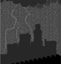 Castle under the storm vector