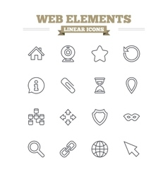 Web elements linear icons set thin outline signs vector