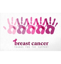 Breast cancer awareness handprint vector