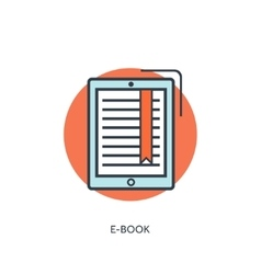 Flat lined e-book icon vector