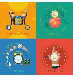 Time management flat icons square composition vector