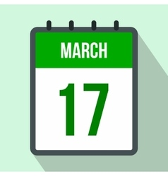 Calendar with St Patricks Day date flat icon vector image